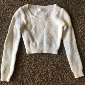 American Apparel White Sweater Crop
